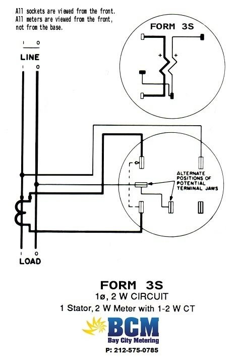 1P2WCTwiringdiag form 3s meter wiring diagram meter connection diagram \u2022 wiring milbank meter socket wiring diagram at n-0.co