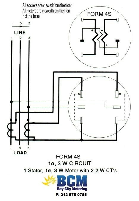 wiring diagrams bay city metering nyc Meter Collar Generator Transfer Switch 1 stator 3 wire socket w 2 2w cts