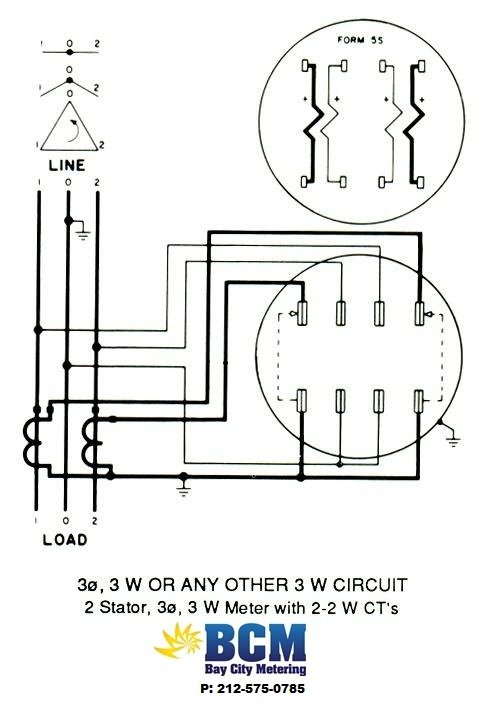 wiring diagrams bay city metering nyc 2 stator 3 wire socket w 2 2w cts