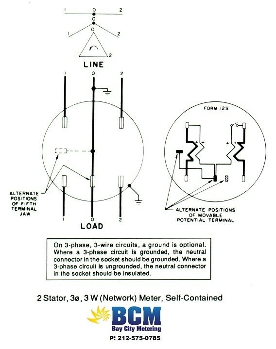 wiring diagrams bay city metering nyc 2 stator 3 wire network socket
