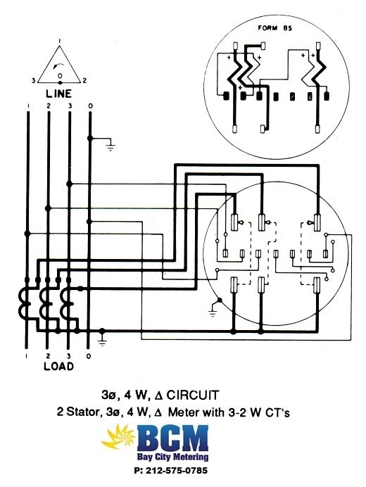 3P4WSCTwiringdiag wiring diagrams bay city metering nyc Single Phase Meter Wiring Diagram at crackthecode.co